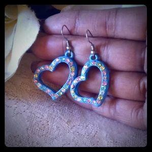 Vintage Enamel Heart w/Crystals Earrin